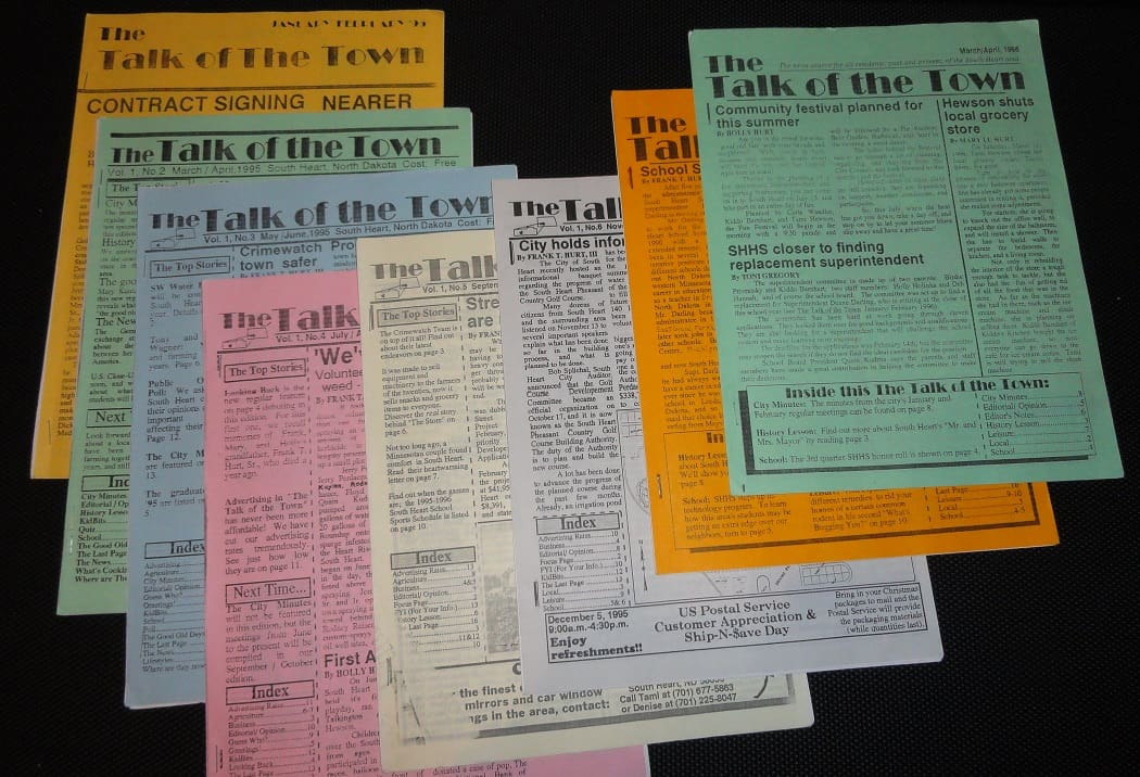 Surviving copies of The Talk of the Town newspaper