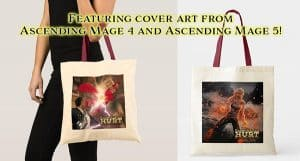 Ascending Mage canvas book totes